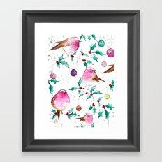 Robin and Baubles Framed Art Print