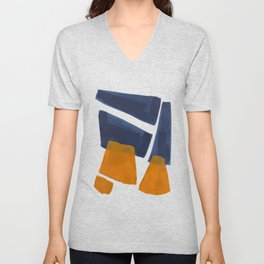 Colorful Minimalist Mid Century Modern Shapes Navy Blue Yellow Ochre Sharp Shapes Unisex V-Neck