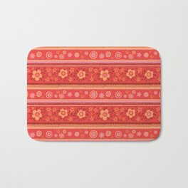 Bright Red Flowers Bath Mat