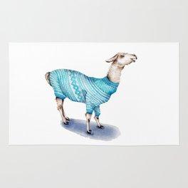 Llama in a Blue Sweater Rug