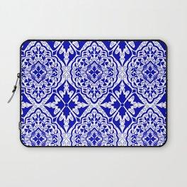 BOHEMIAN PALACE, ORNATE DAMASK: BLUE and WHITE Laptop Sleeve