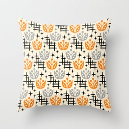 Mid Century Modern Space Flower Pattern Orange and Gray Throw Pillow