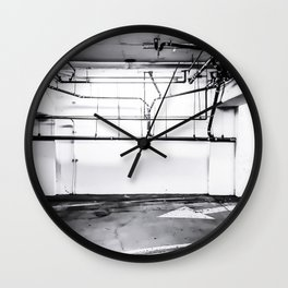 underground parking lot with tube in black and white Wall Clock