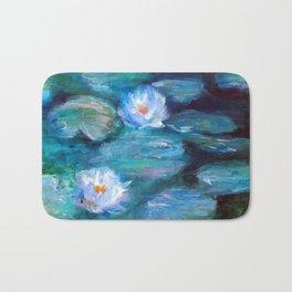 Blue Water Lilies Bath Mat