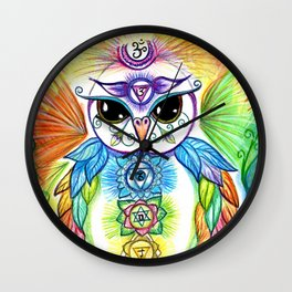 Chakra Owl Wall Clock