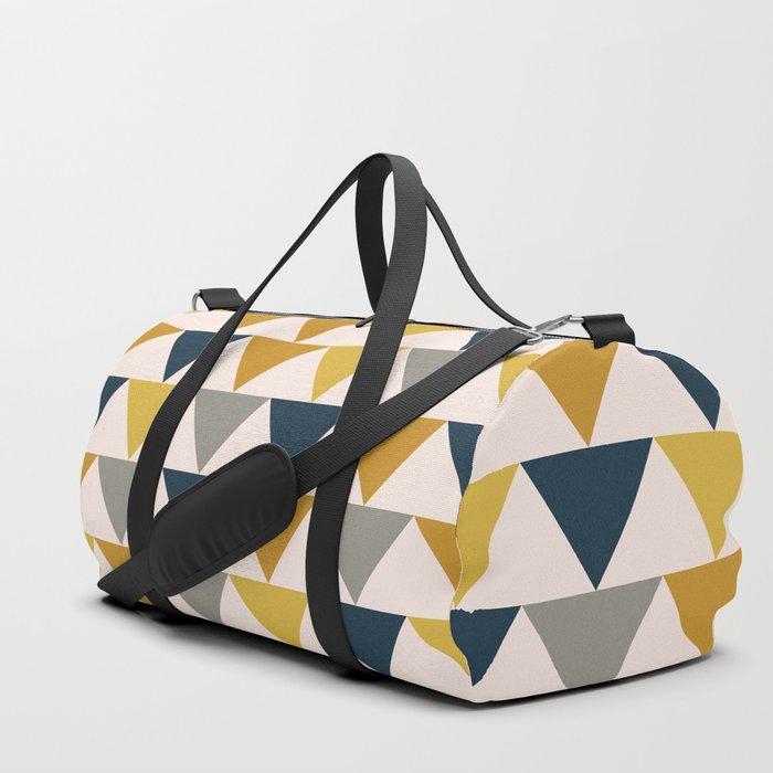 Arrow Pattern in Mustard Yellows, Navy Blue, Grey, and Blush Tones. Minimalist Geometric Duffle Bag