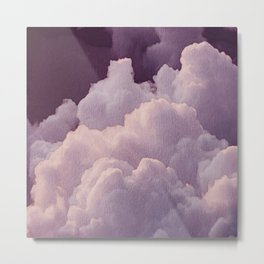 Abstract hand painted blush pink lilac watercolor clouds pattern Metal Print