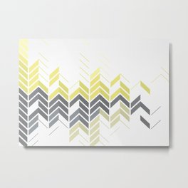 Chevron Sophisticate A – Gold / Yellow / Silver Abstract Pattern Metal Print