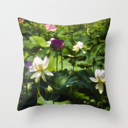 Blooming Lotus Flowers Outdoors Throw Pillow