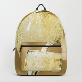 Two Sparkling Champagne Glasses Cheers Celebrating New Years Close Up Ultra HD Backpack