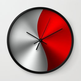 Metallic Red & Silver Geometric Design Wall Clock