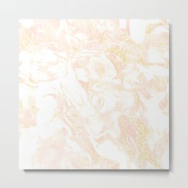 White Marble Pastel Pink and Gold by Nature Magick Metal Print