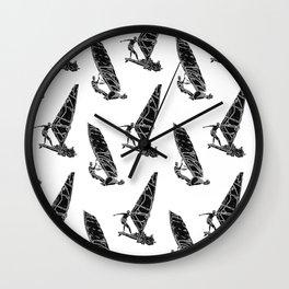 Windsurf Pattern white Wall Clock
