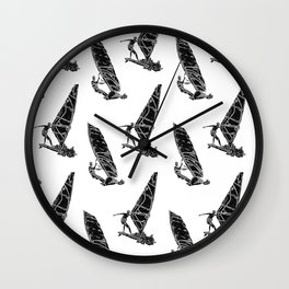 Windsurf Pattern white Wall Clock