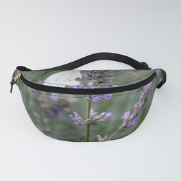 White Butterfly surrounded by Purple Lavender Fanny Pack