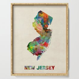 New Jersey Watercolor Map Serving Tray