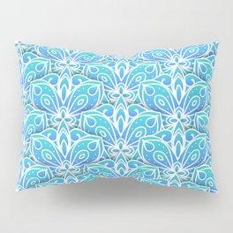 Decorative Layers of Blue Flowers Pillow Sham