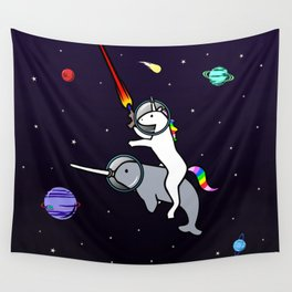 Unicorn Riding Narwhal In Space Wall Tapestry