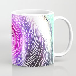 Modern Mandala Spiral Galaxy Space Textured Multi Colored / Pink Green Gray Black Coffee Mug