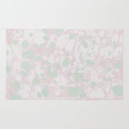 Pastel Paint Spill Pattern Green, Pink, White Rug