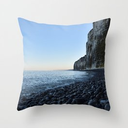 White cliffs sunrise - Normandy France - blue grey - Travelphotography Throw Pillow
