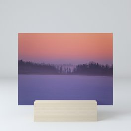 Foggy Winter Evening With Beautiful Sunset Colors In The Sky #decor #buyart #society6 Mini Art Print