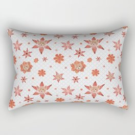 Cats on  red-orange flowers Rectangular Pillow