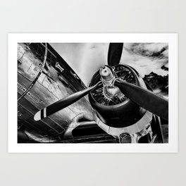 Airplane Propeller Black and White Fine Art Print Modern Art Print
