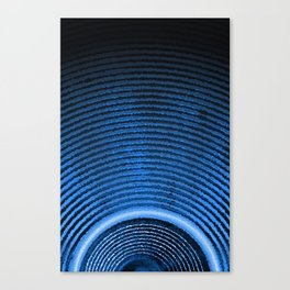 Blue music speaker and sound waves Canvas Print
