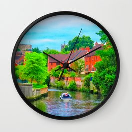 Boating on The River Wensum, Norwich, U.K Wall Clock