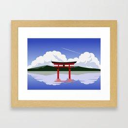 Floating Torii Gate Framed Art Print