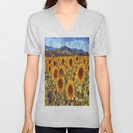 Sunflowers Vincent van Gogh Unisex V-Neck