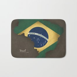 Brazil map special vintage artwork style with flag illustration Bath Mat