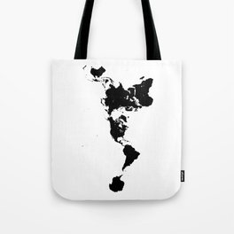 Dymaxion World Map (Fuller Projection Map) - Minimalist Black on White Tote Bag