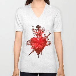 heart in flames wounded by dagger Unisex V-Neck