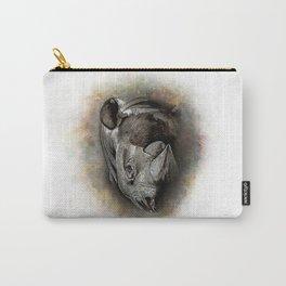 Black Rhino Watercolor Portrait Carry-All Pouch