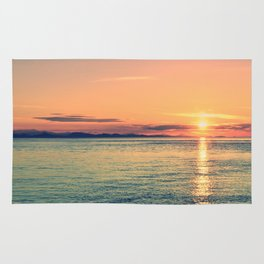 Pastel Sunset Calm Blue Water Rug