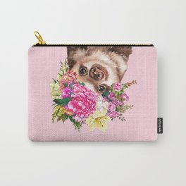 Flower Crown Baby Sloth in Pink Carry-All Pouch