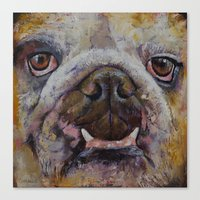 bulldog Canvas Prints featuring Bulldog by Michael Creese
