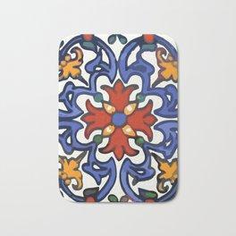 Talavera Mexican tile inspired bold design in blue, green, red, orange Bath Mat