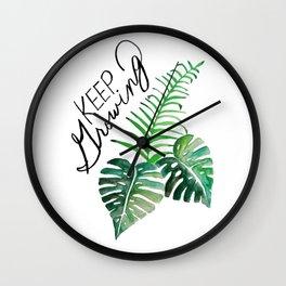 Keep Growing. Monstera Watercolor. Wall Clock