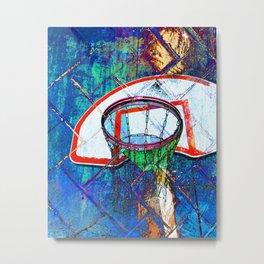 Basketball Hoop, BBall Art, Modern Sports Artwork Metal Print