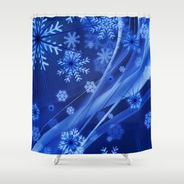 Blue Snowflakes Winter Shower Curtain