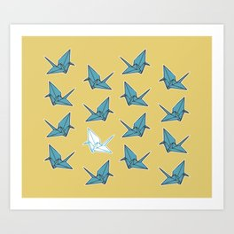 PAPER CRANES BABY BLUE AND YELLOW Art Print