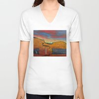 violin V-neck T-shirts featuring Violin by Michael Creese