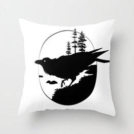 Raven Silhouette II Throw Pillow