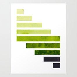 Sap Green Midcentury Modern Minimalist Staggered Stripes Rectangle Geometric Pattern Watercolor Art Art Print