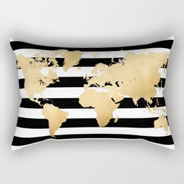 Gold world map black and white stripes Rectangular Pillow