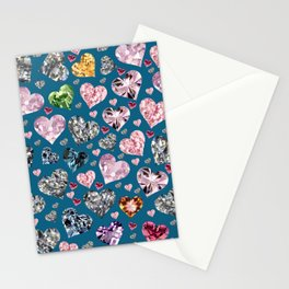 Heart Diamonds are Forever Love Blue Stationery Cards