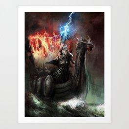 Dragon Viking Ship Art Print